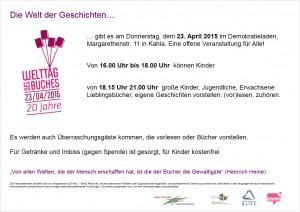Flyer Welttag des Buches Demokratie Laden.
